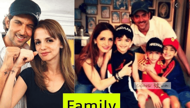Hrithik Family Family photo of His Wife and children