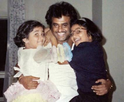 Soundarya Rajnikanth Childhood Photo with her Father Rajnikanth