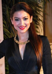 gauhar khan pose with smile in Black dress