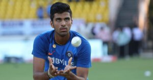Washington Sundar caching ball