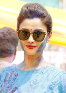 Adaa Khan Posewith holi color