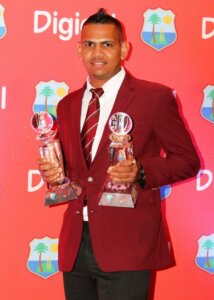 Sunil Narine with trophy