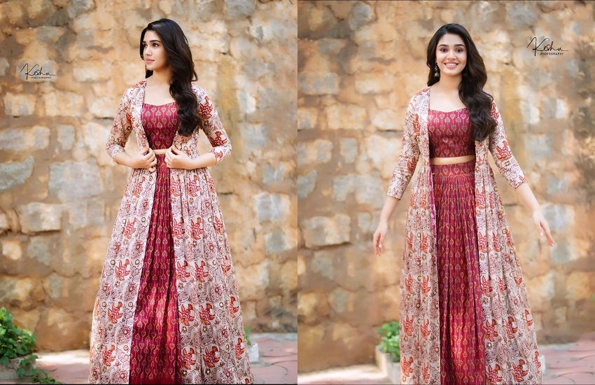 Krithi Shetty in Brown color long dress in Amazon For sale
