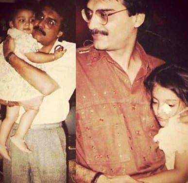 Miheeka Bajaj Childhood Picture with her Father