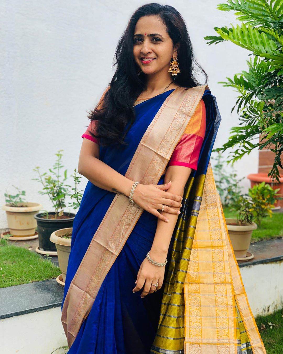 Anchor Lasya Latest Photo in Blue Saree