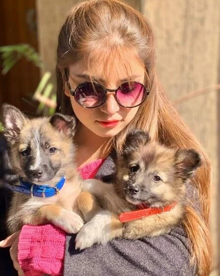 Dananeer Mobeen With Her Cute Pet Dogs