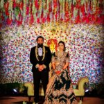Dhruva Sarja reception photo with wife