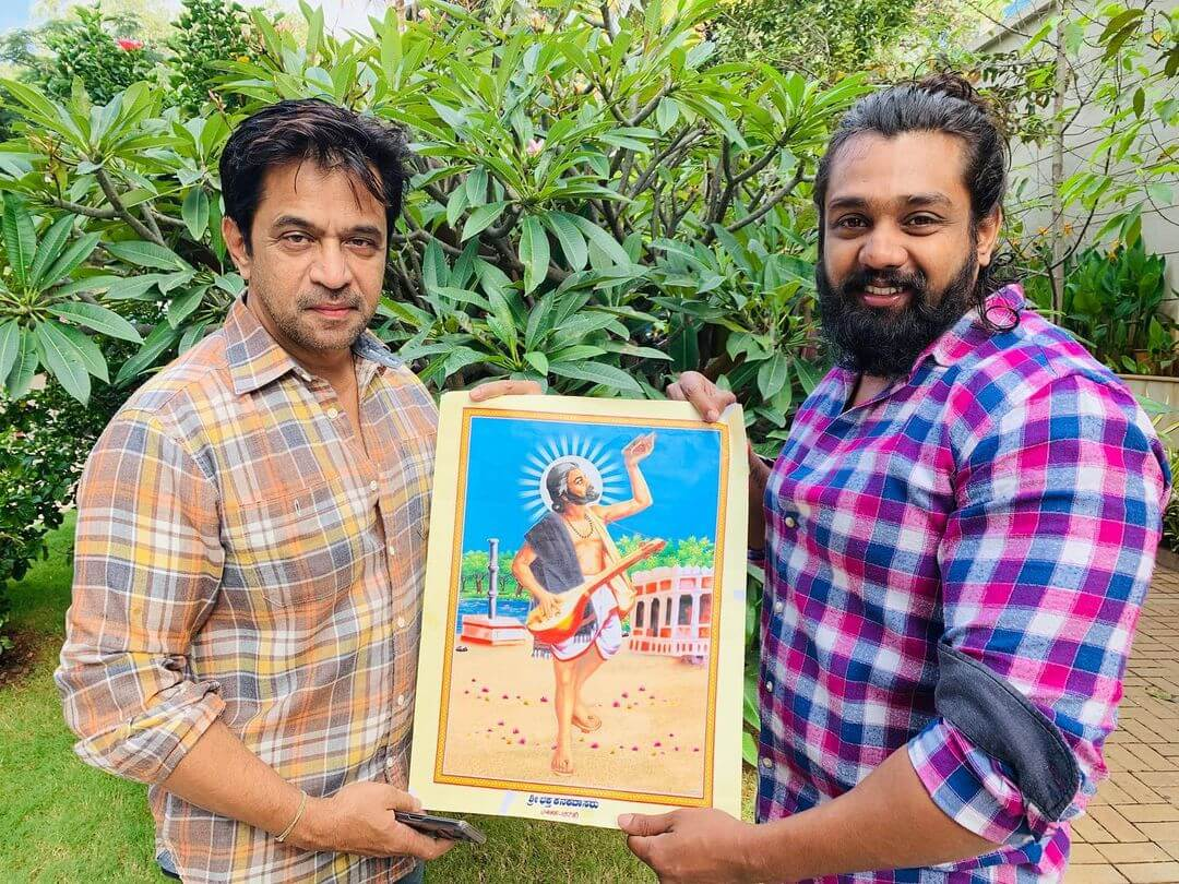Dhruva Sarja with Arjun Sarja Photo